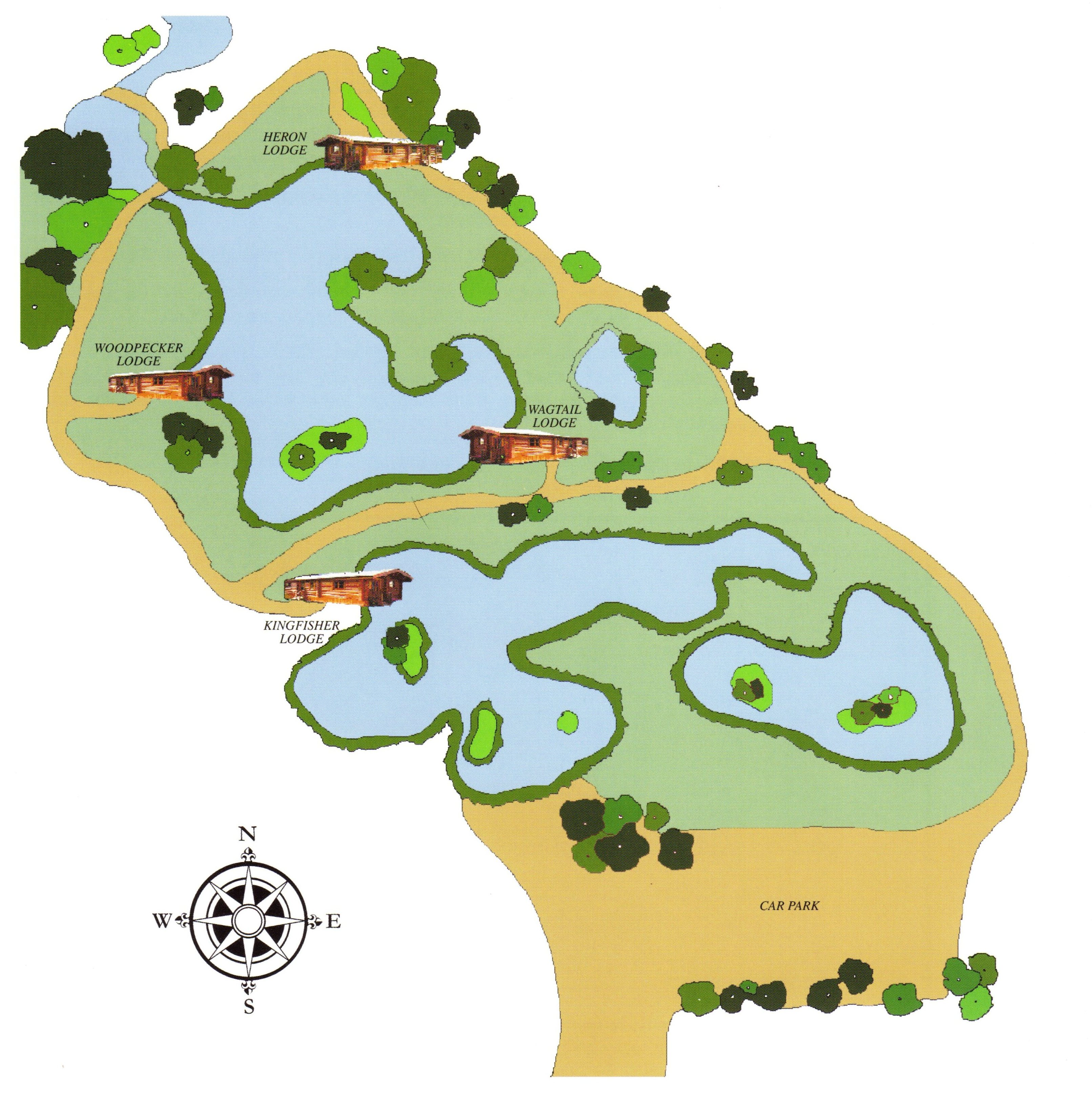 Map of Badwell Ash Holiday Lodges with Fishing Lakes