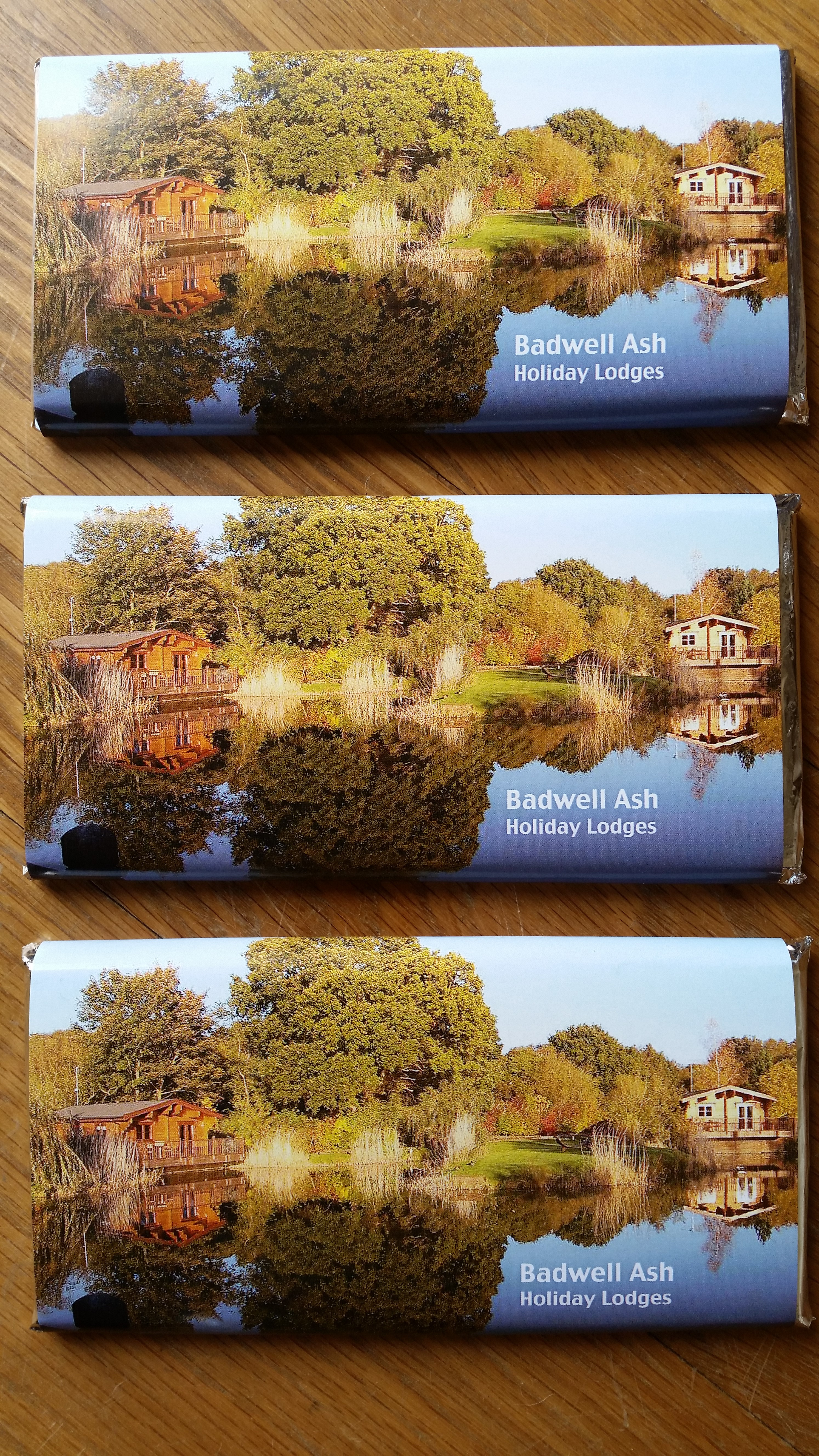 Personalised Chocolate Bars for Badwell Ash Holiday Lodges