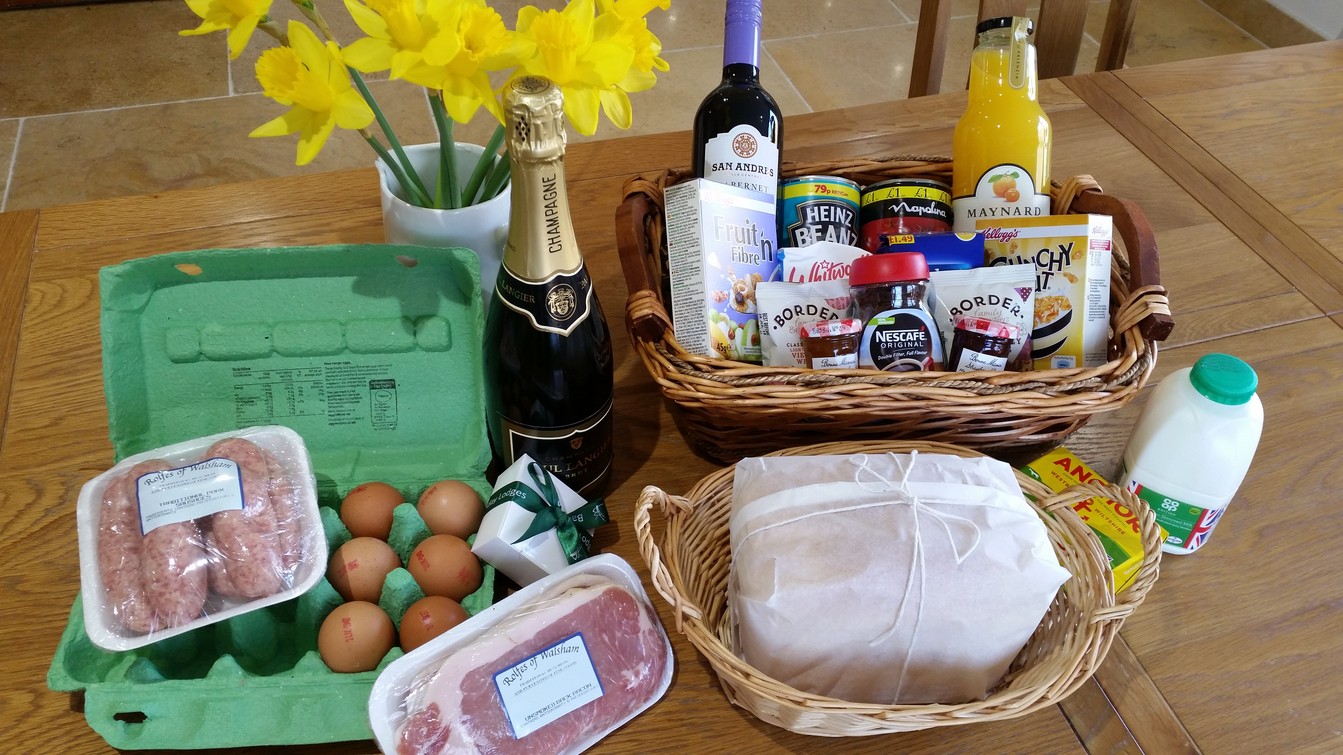 Image of Groceries and Flowers in Badwell Ash Holiday Lodges Welcome Hamper